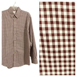 BROOKS BROTHERS Maroon Gingham Check Button Down